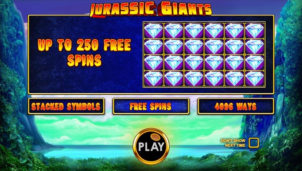 Jurassic Giants Slot - Intro Screen