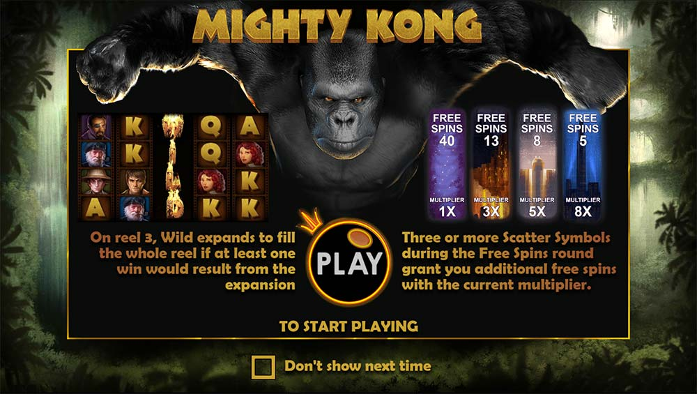 Mighty Kong Slot - Intro Screen