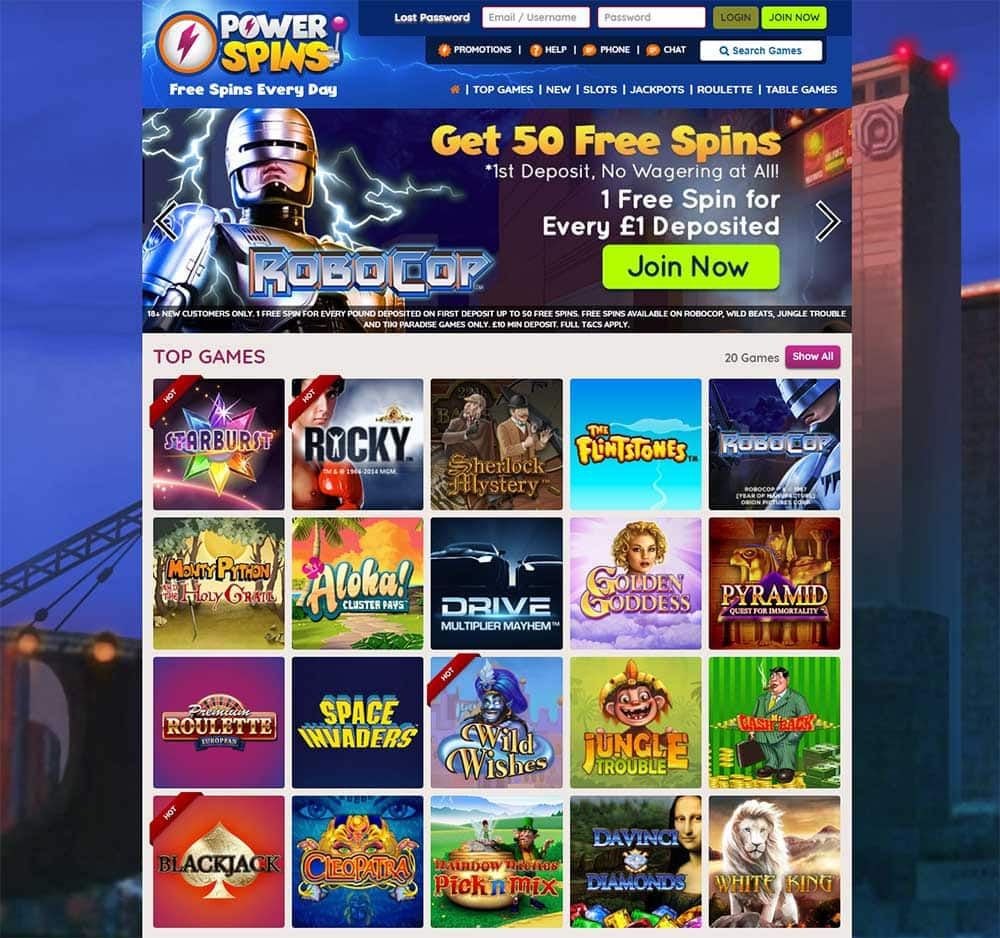 Powerspins Casino - Home Page