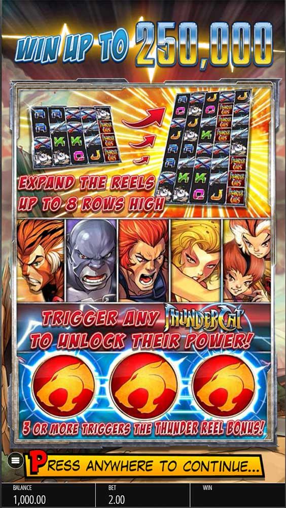 Thundercats Slot - Intro Screen