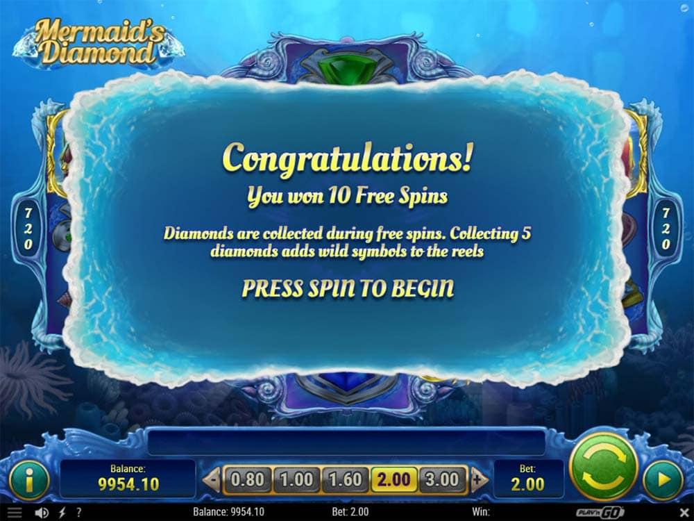 Mermaid's Diamond Slot - Free Spins