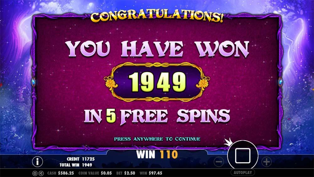 Pixie Wings Slot - Bonus End