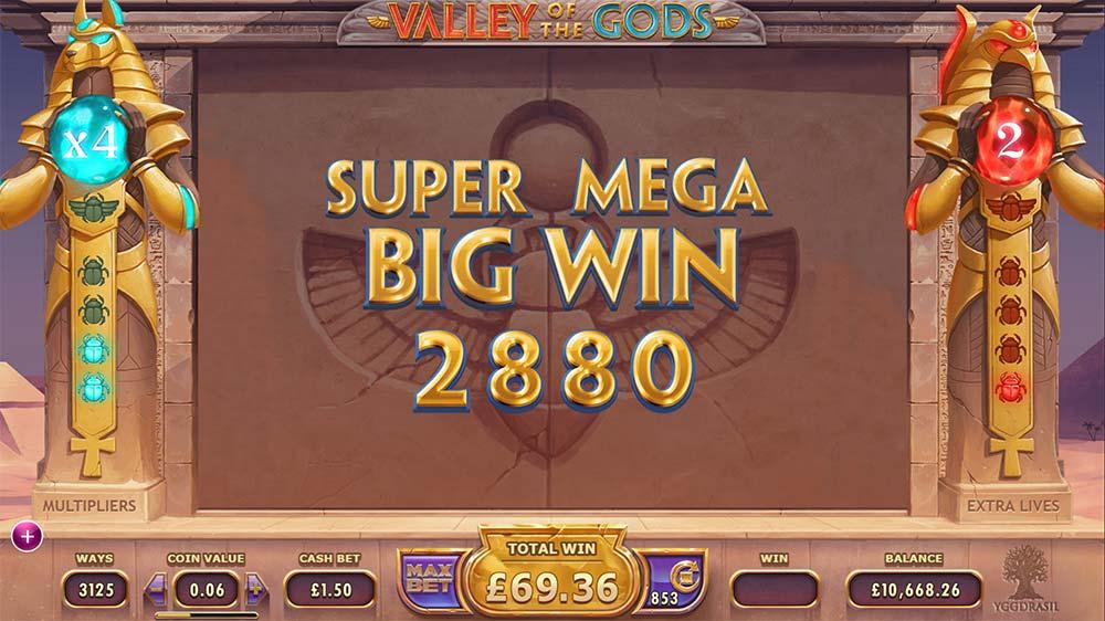 Valley Of The Gods Slot - Super Mega Big Win