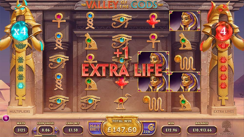Valley Of The Gods Slot - Extra Life (Spin)