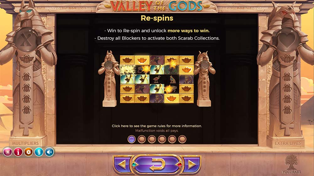 Valley Of The Gods Slot - Re-Spins Feature