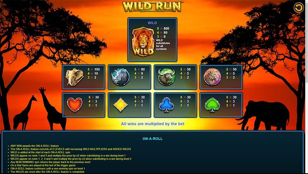 Wild Run Slot - Paytable