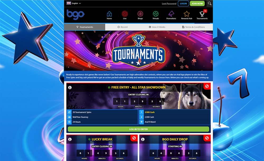 BGO Casino Slot Tournament Section