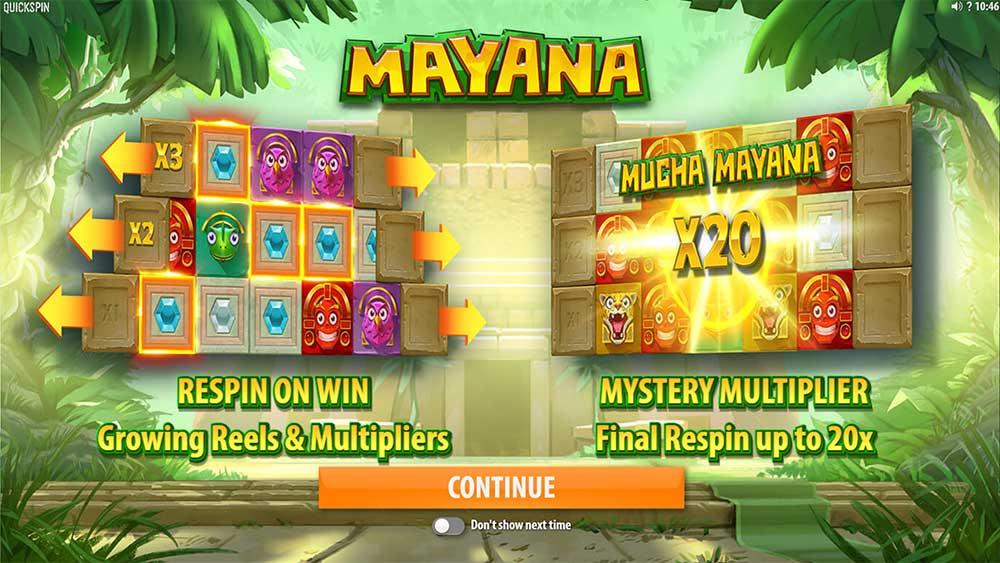 Mayana Slot - Intro Screen
