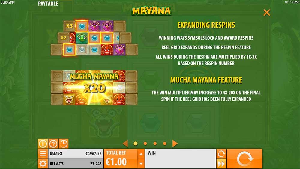 Mayana Slot - Paytable