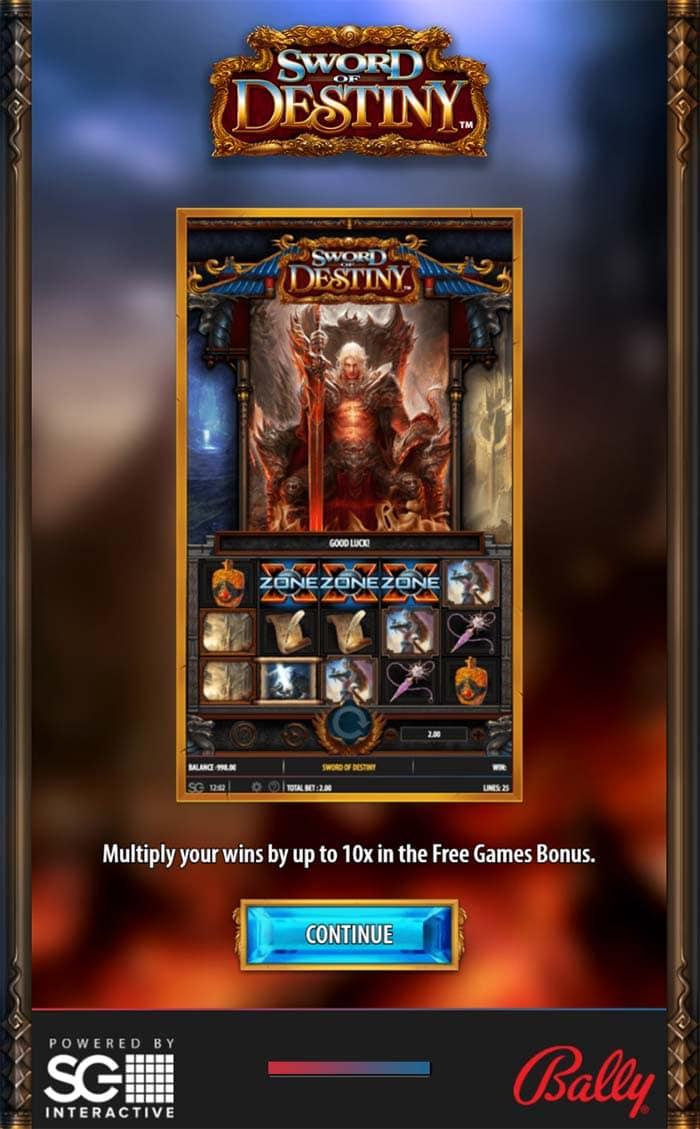 Sword of Destiny Slot - Intro Screen