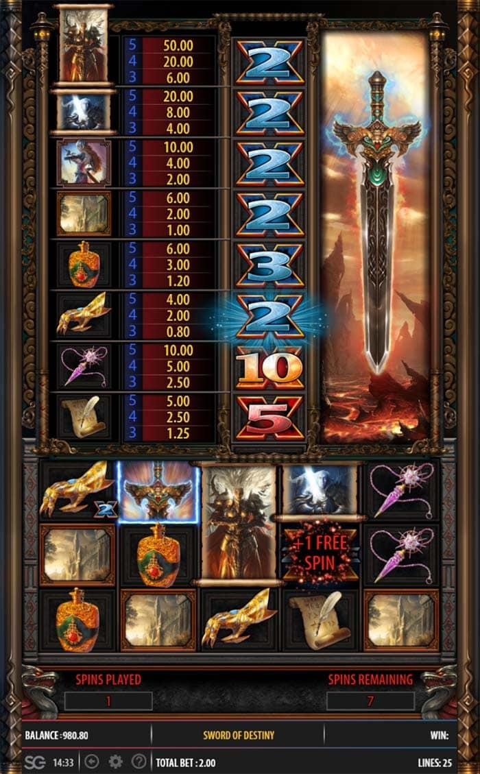 Sword of Destiny Slot - Free Spins Round