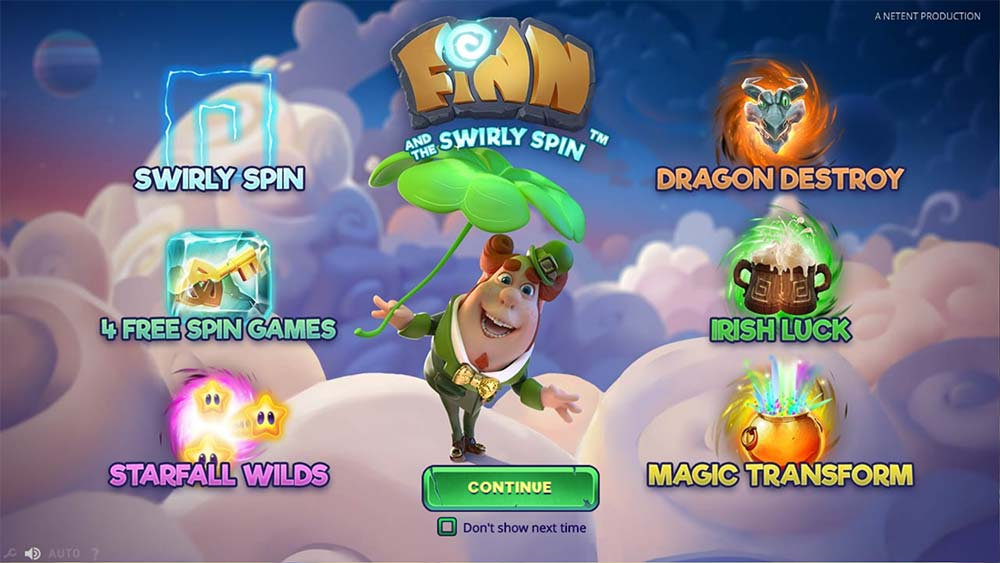 Finn and the Swirly Spin Slot - Intro Screen