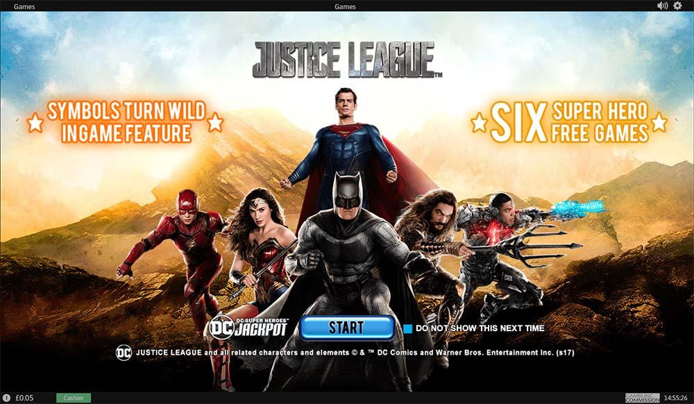Justice League Slot - Intro Screen