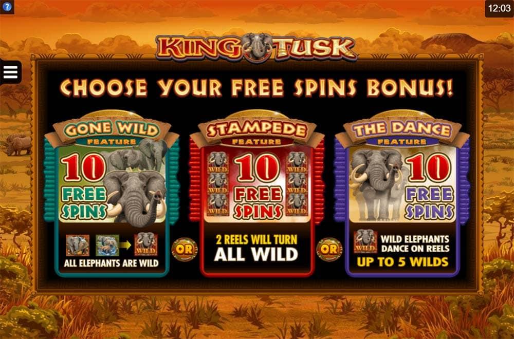 King Tusk Slot - Free Spins Selection
