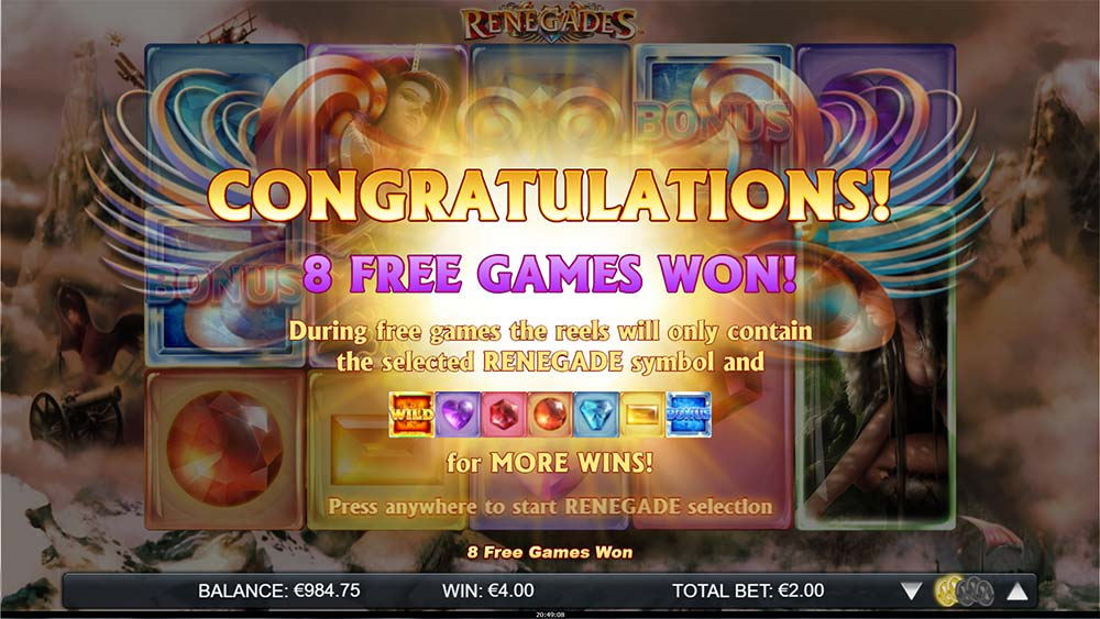 Renegades Slot - Free Spins Won