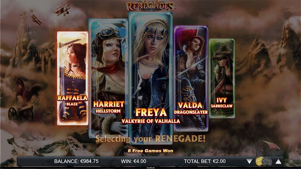 Renegades Slot - Renegade Selection Screen