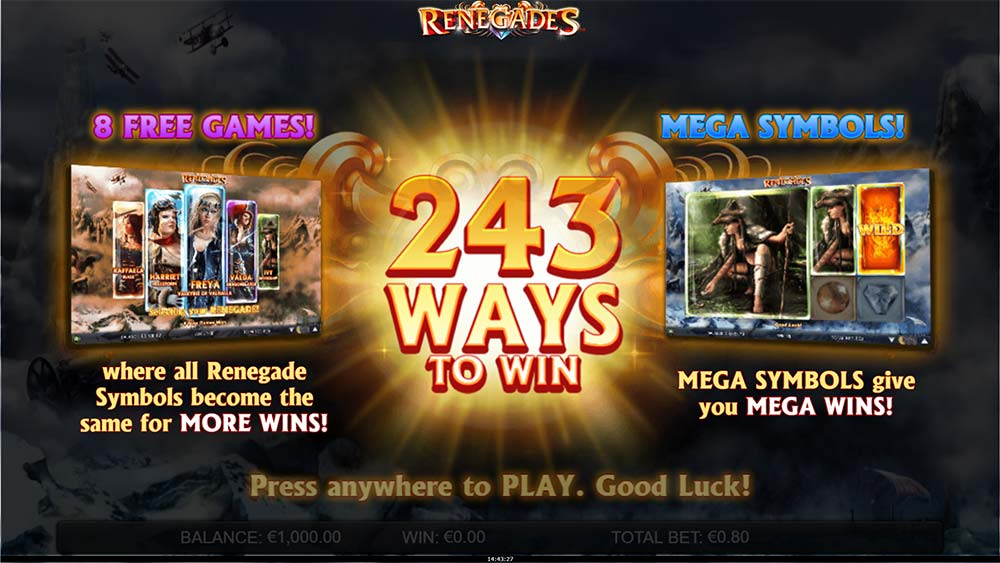 Renegades Slot - Intro Screen