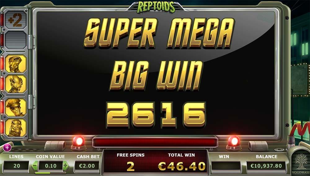 Reptoids Slot - Super Mega Big Win
