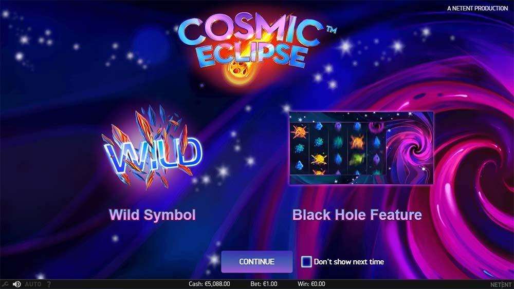 Cosmic Eclipse Slot - Intro Screen