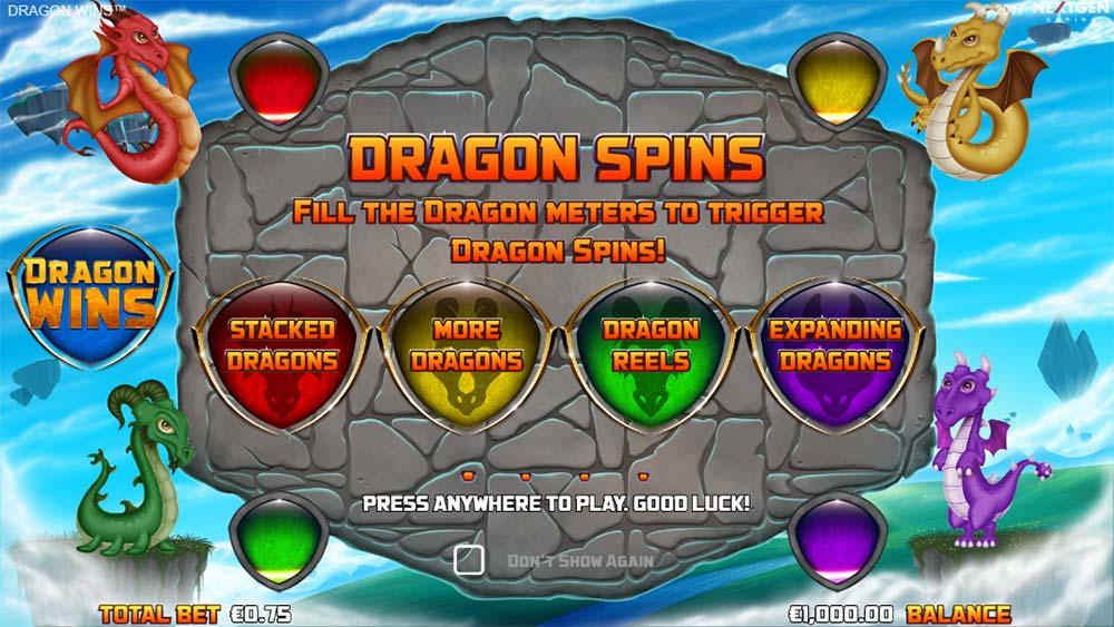 Dragon Wins Slot - Intro Screen