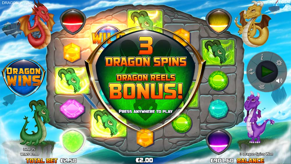 Dragon Wins Slot - Green Dragon Bonus Meter Filled