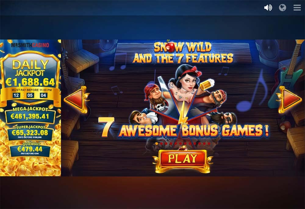Snow Wild and the 7 Features Slot - Intro Screen