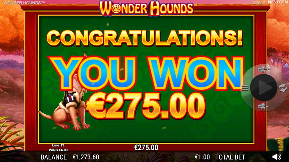 Wonder Hounds Slot - Bonus End at €1 Stake