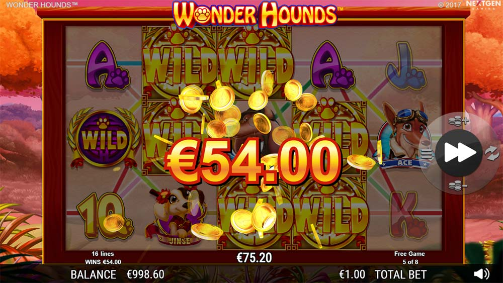 Wonder Hounds Slot - Big Win with added Wilds
