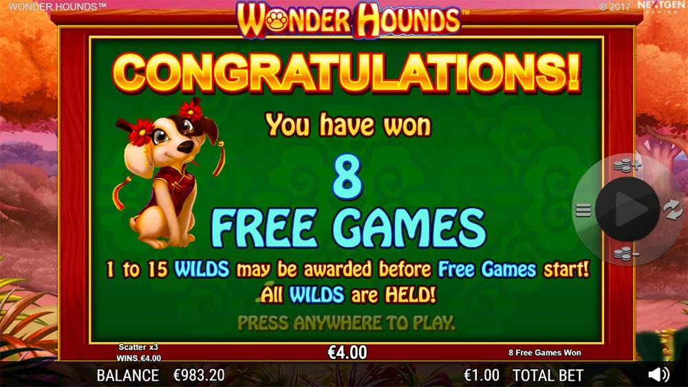 Wonder Hounds Slot - Free Spins Triggered