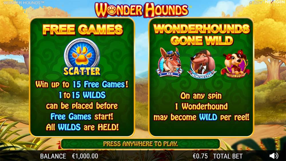 Wonder Hounds Slot - Intro Screen