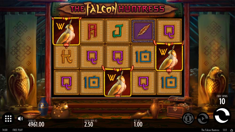 The Falcon Huntress Slot - Free Spins Trigger