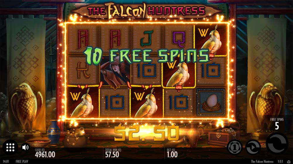 The Falcon Huntress Slot - Free Spins Re-Trigger