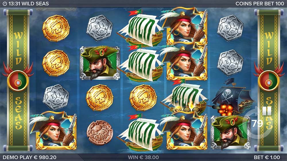 Wild Seas Slot - Damaged Ships are Held Wilds