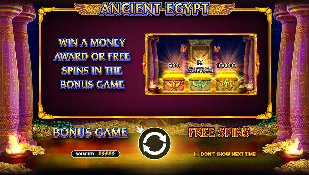 Ancient Egypt Slot - Intro Screen