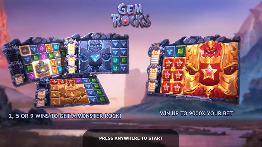 Gem Rocks Slot - Intro Screen