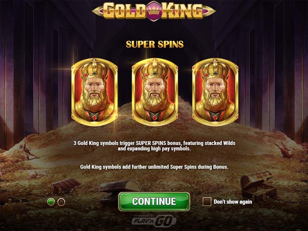 Gold King Slot - Intro Screen