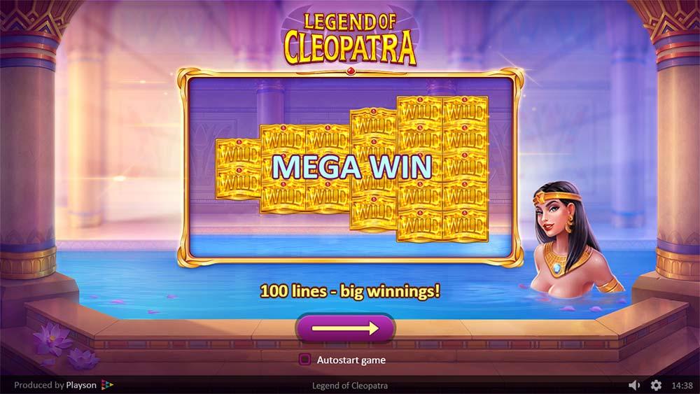 Legend of Cleopatra Slot - Intro Screen