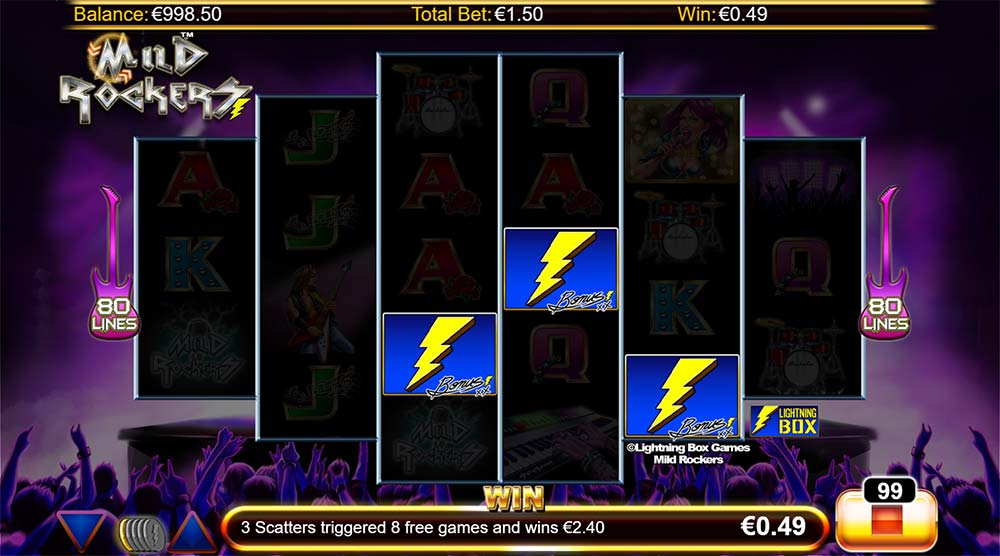 Mild Rockers Slot - Free Spins Triggered