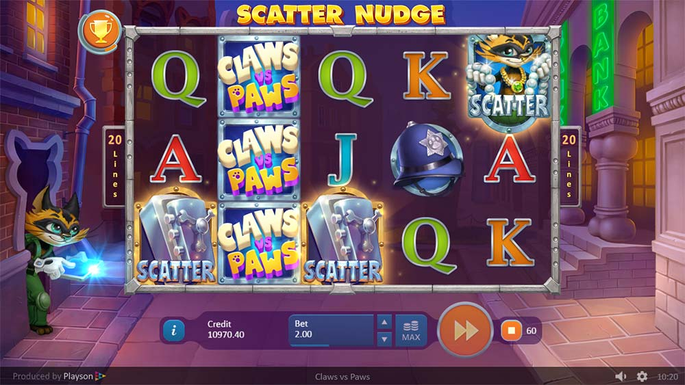 Claws vs Paws Slot - Scatter Nudge Bonus Trigger