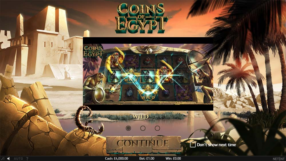 Coins of Egypt Slot - Intro Screen