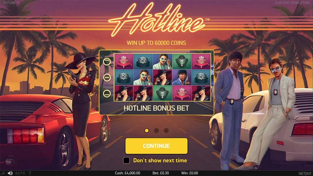 Hotline Slot - Intro Screen