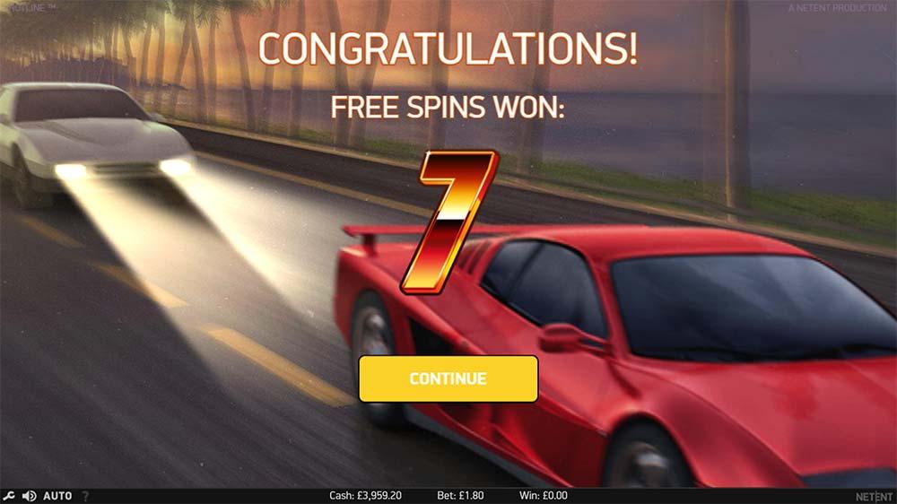 Hotline Slot - Free Spins Won