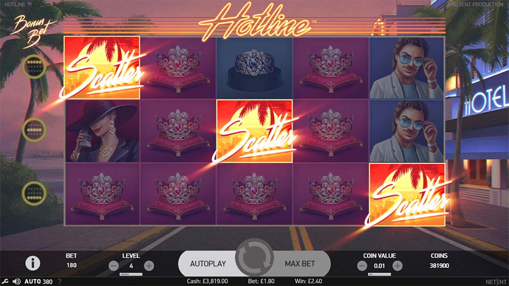 Hotline Slot - Scatter Bonus Trigger