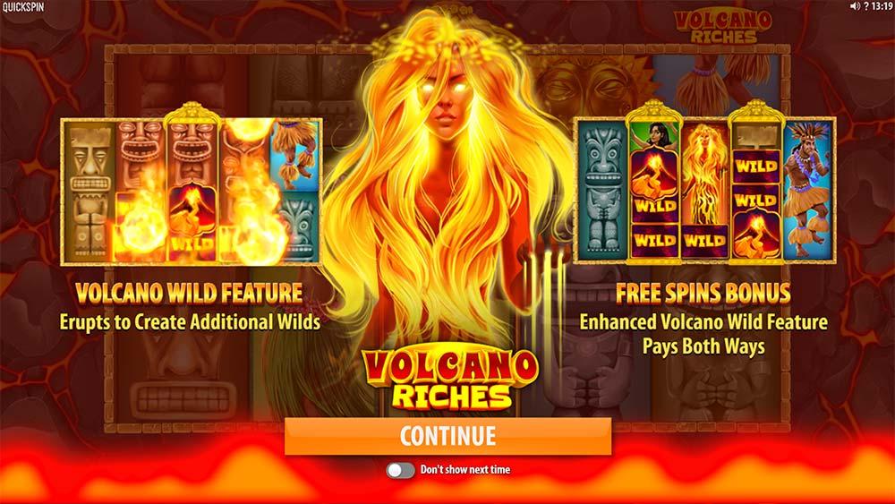 Volcano Riches Slot - Intro Screen