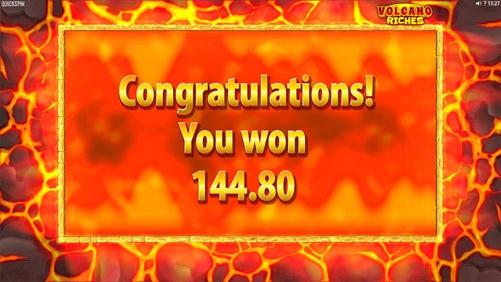 Volcano Riches Slot - Bonus End
