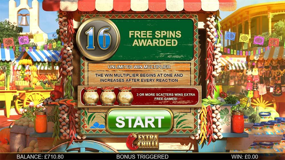 Extra Chilli Slot - 16 Free Spins Awarded