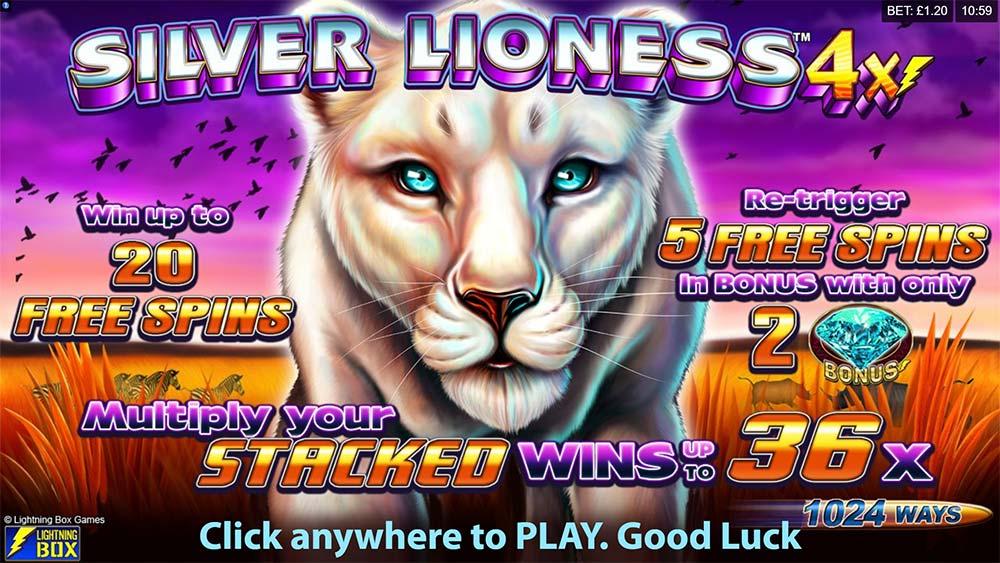 Silver Lioness 4x Slot - Intro Screen