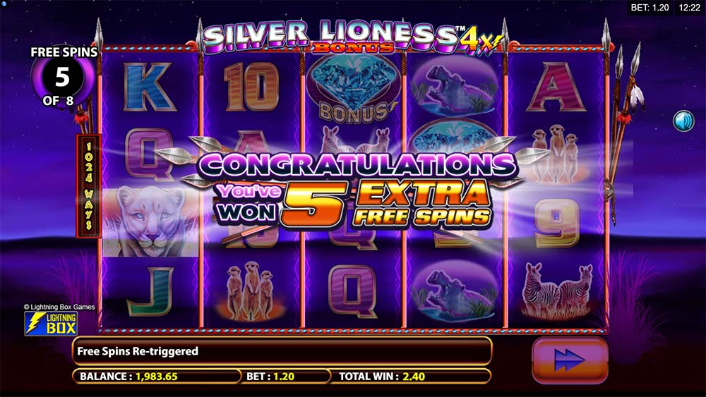 Silver Lioness 4x Slot - Free Spins Re-Trigger