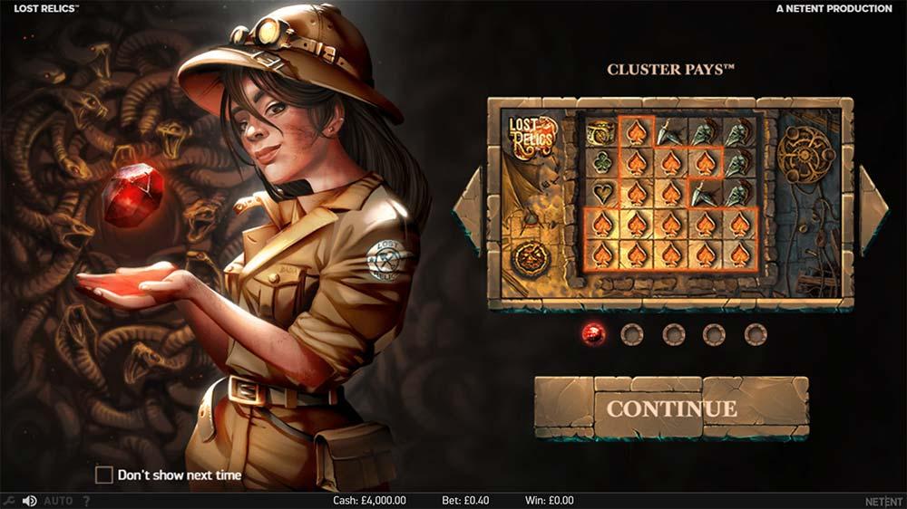 Lost Relics Slot - Intro Screen