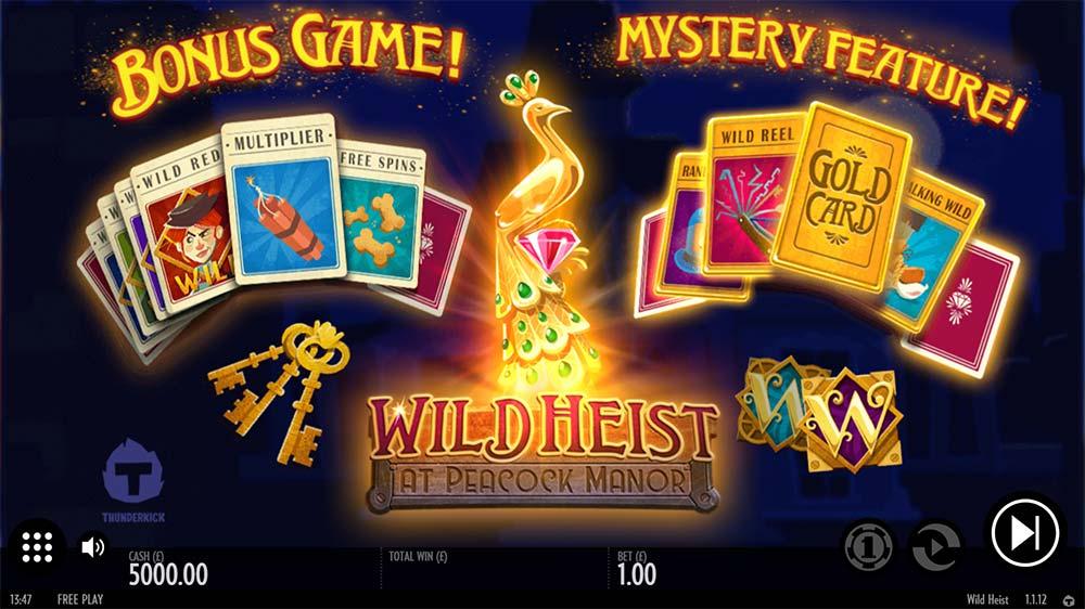 Wild Heist At Peacock Manor Slot - Intro Screen
